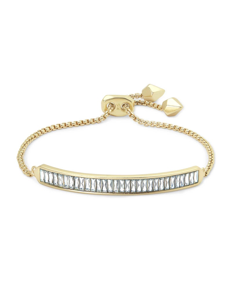 Jack Adjustable Gold Chain Bracelet in White Crystal