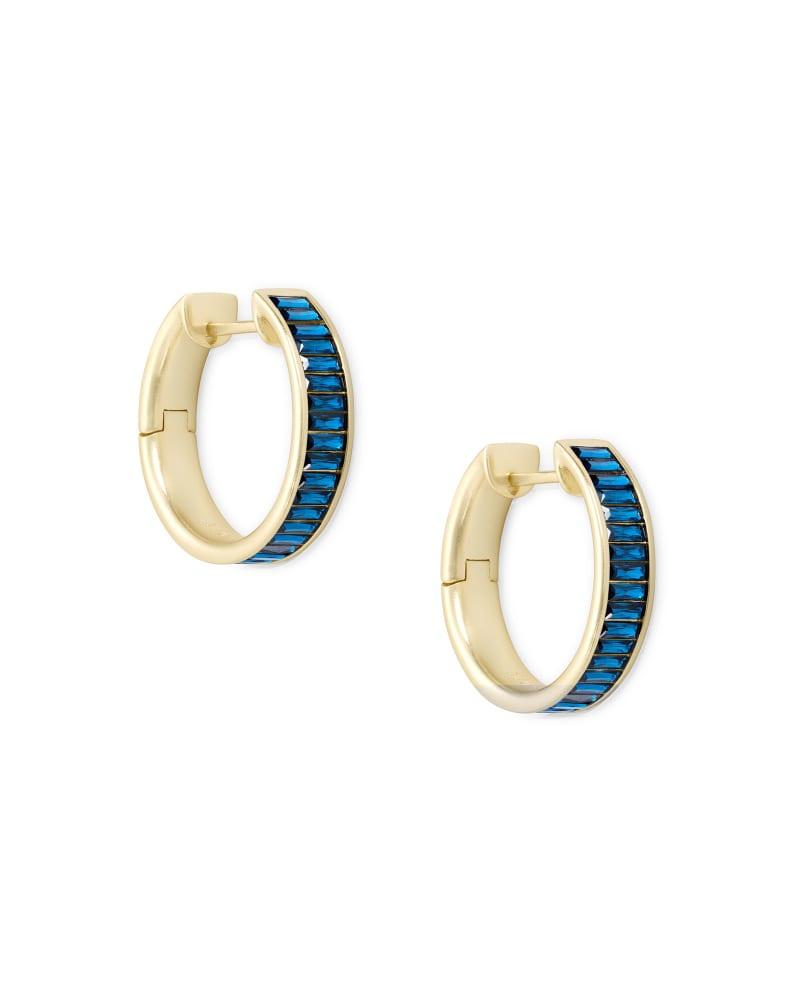 Jack Gold Hoop Earrings in Peacock Blue Crystal