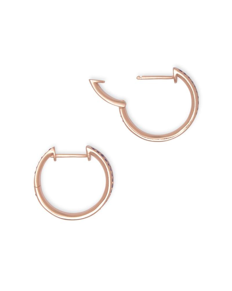 Jack Rose Gold Hoop Earrings in Raspberry Crystal