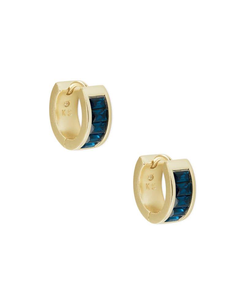Jack Gold Huggie Earrings in Peacock Blue Crystal