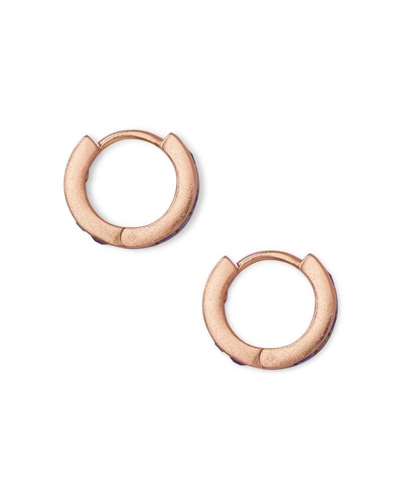 Jack Rose Gold Huggie Earrings in Raspberry Crystal