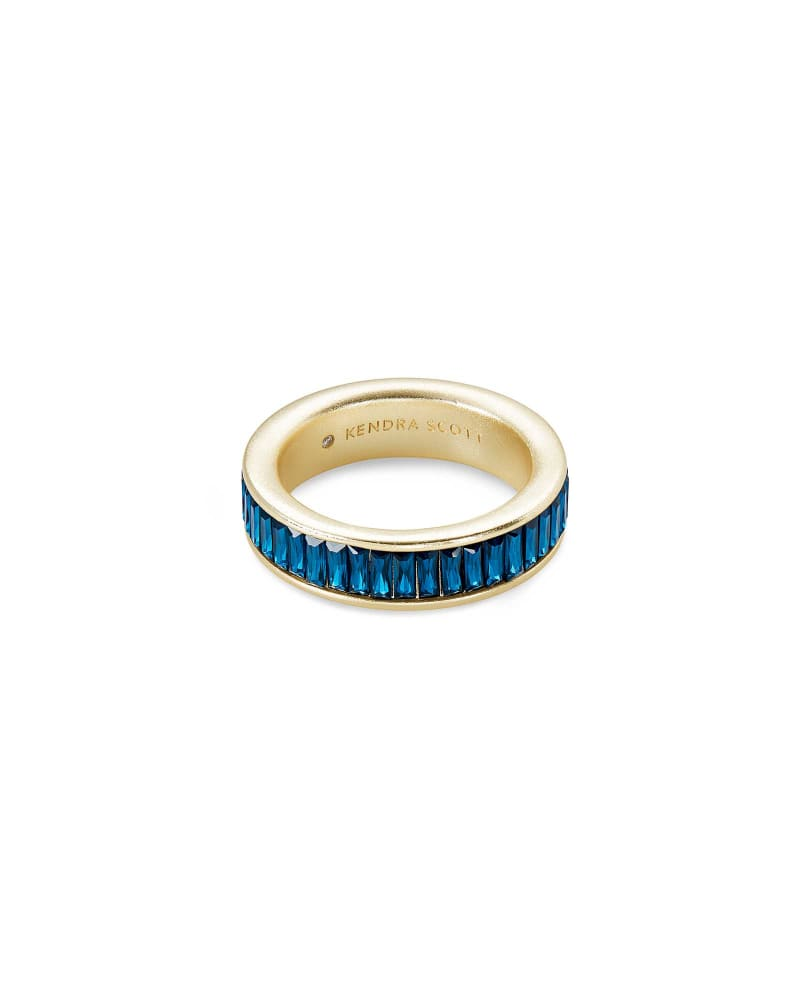 Jack Gold Band Ring in Peacock Blue Crystal