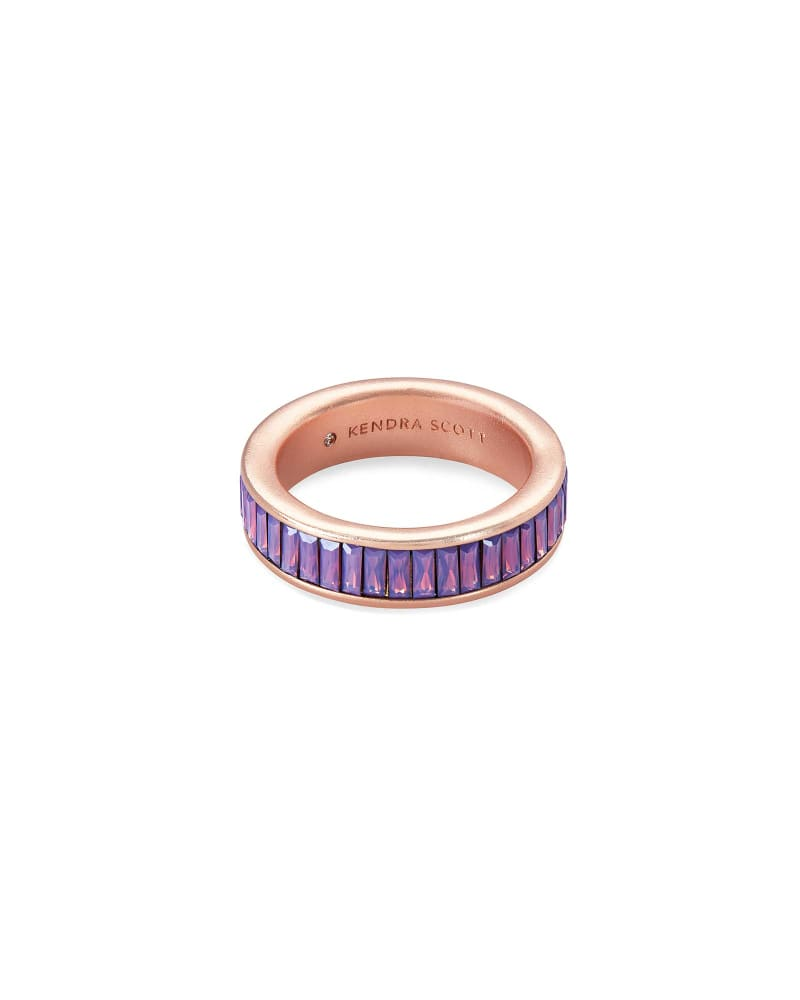 Jack Rose Gold Band Ring in Raspberry Crystal