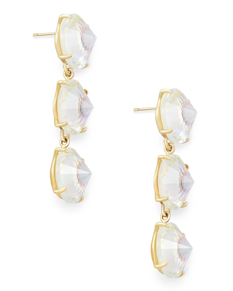 Jolie Gold Statement Earrings in Dichroic Glass