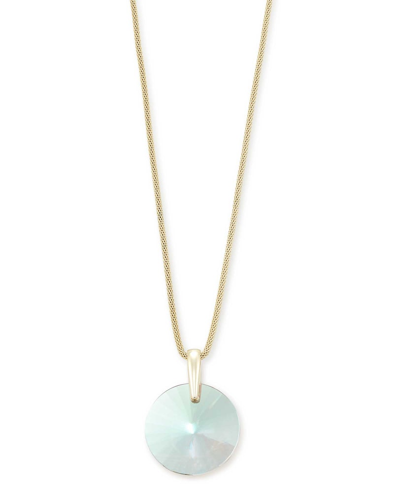 Jolie Gold Long Pendant Necklace in Dichroic Glass