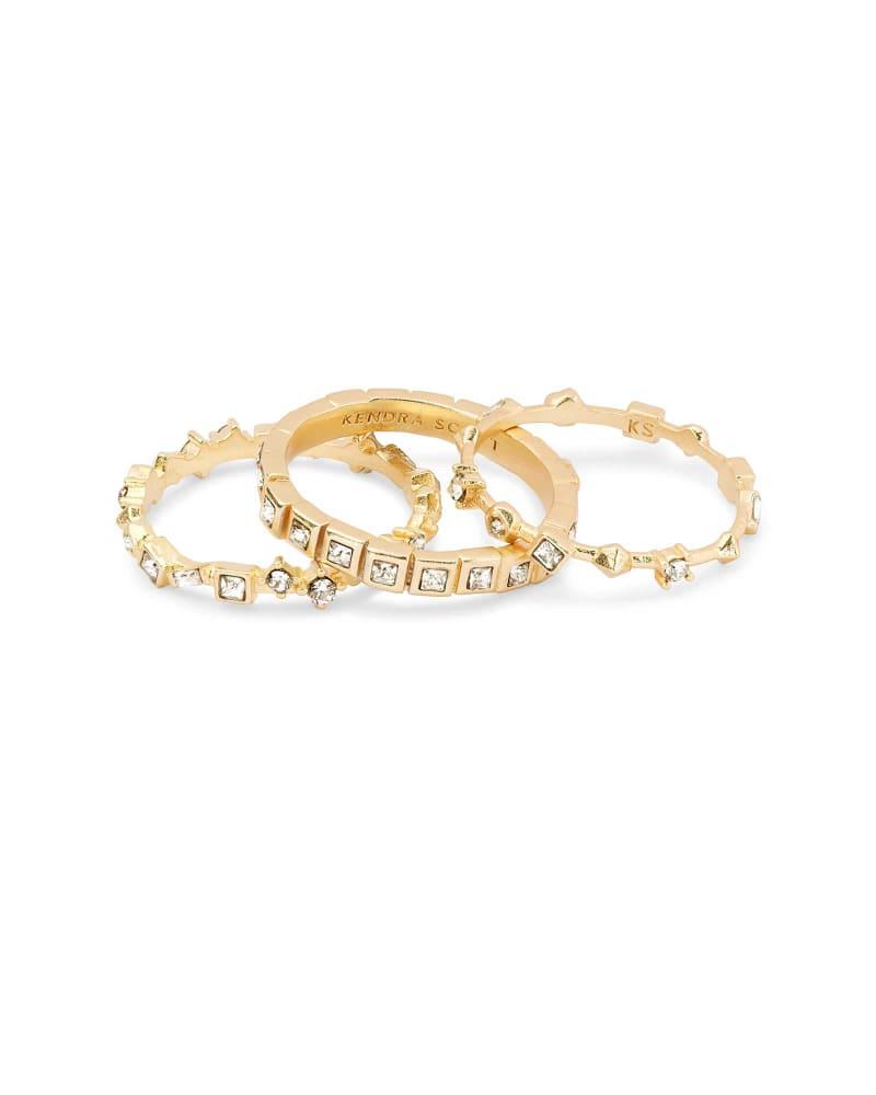 Karis Gold Ring Set of 3 in White Crystal