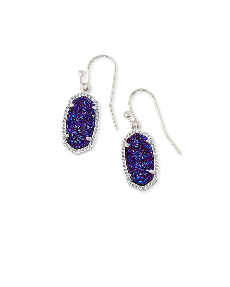 Lee Silver Drop Earrings in Indigo Blue Drusy