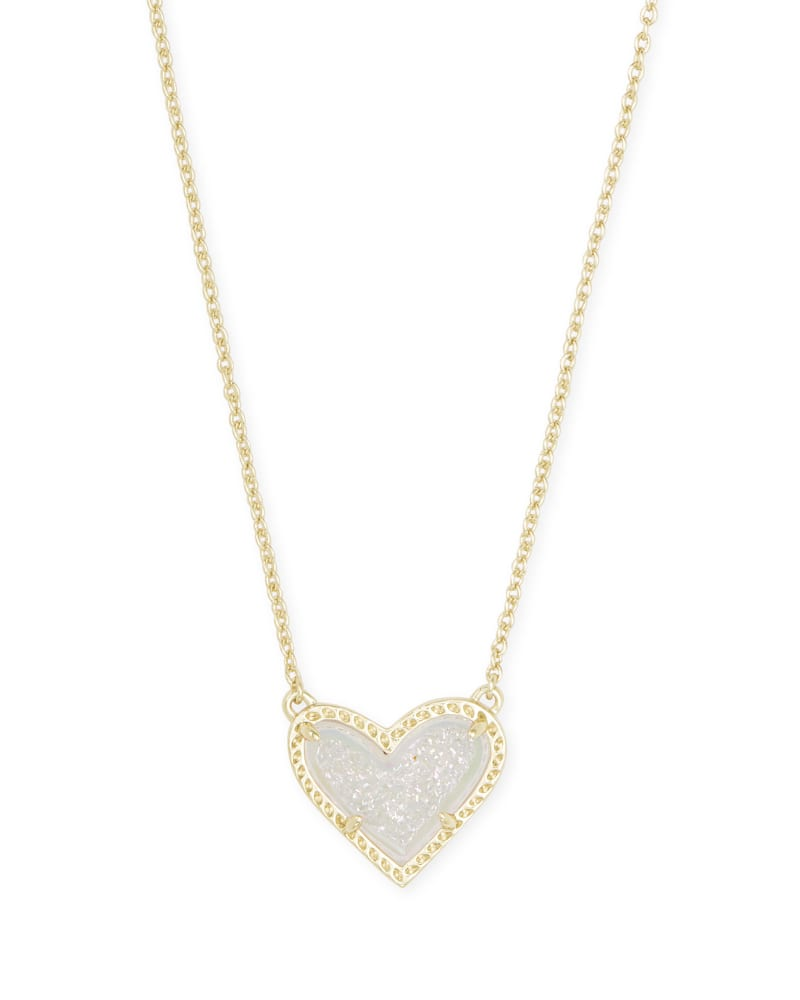 Ari Heart Gold Pendant Necklace in Iridescent Drusy | Kendra Scott