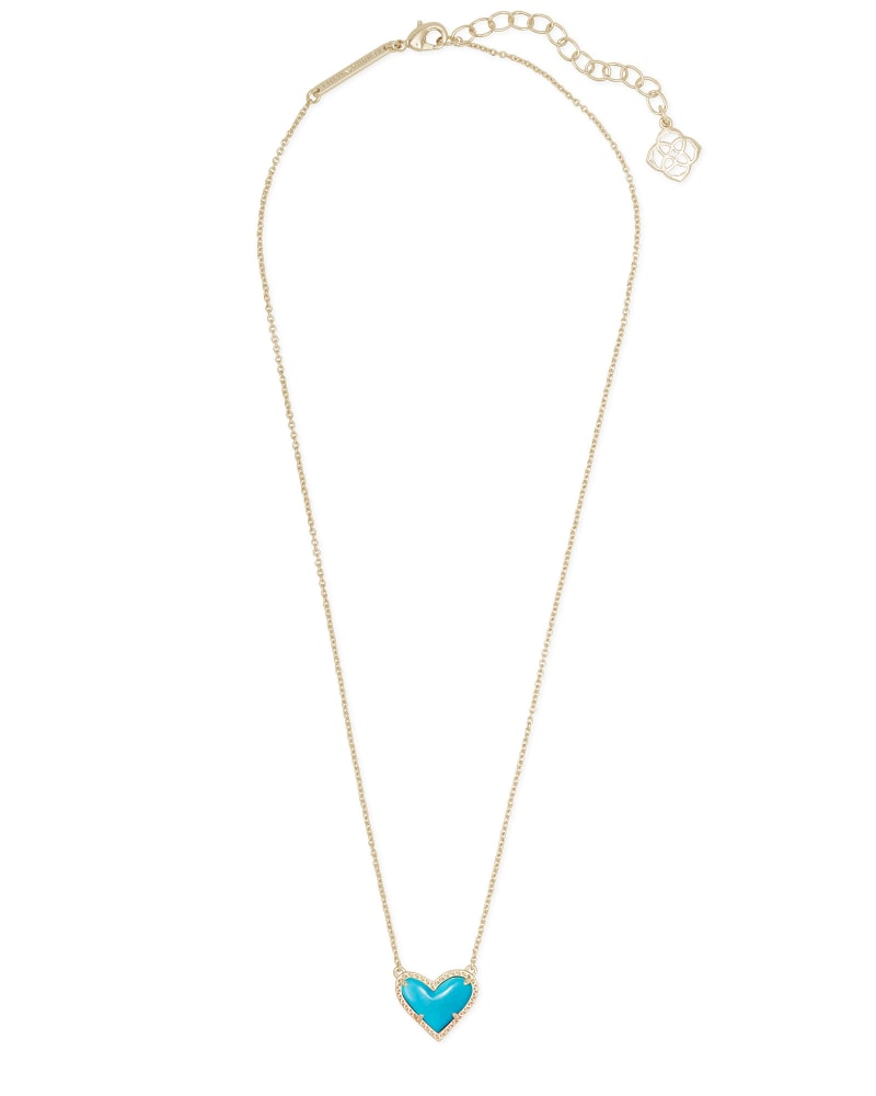 Ari Heart Gold Pendant Necklace in Turquoise Magnesite
