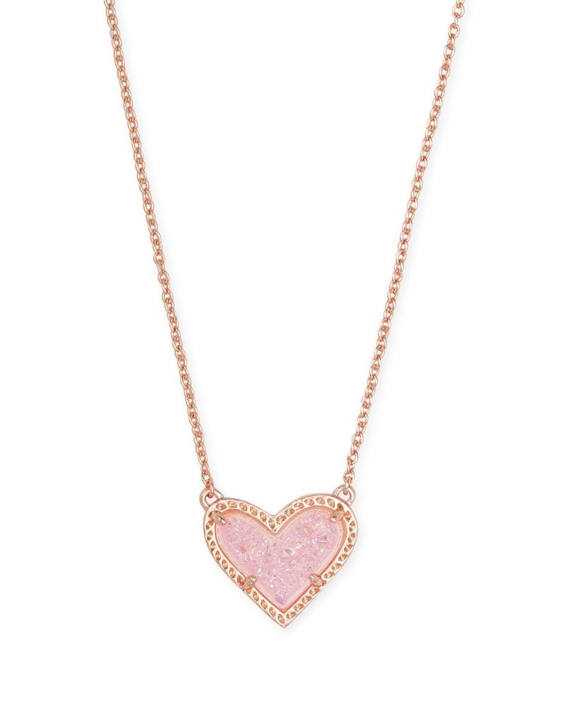 Ari Heart Rose Gold Pendant Necklace in Light Pink Drusy | Kendra Scott