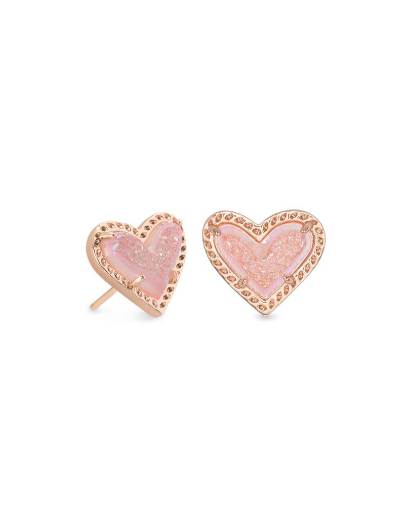 Ari Heart Rose Gold Stud Earrings in Light Pink Drusy | Kendra Scott