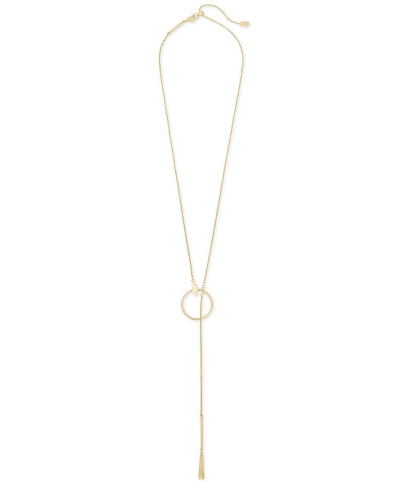 Small Tegan Y Necklace in Gold