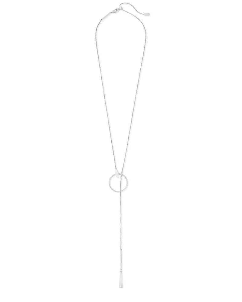 Small Tegan Y Necklace in Silver