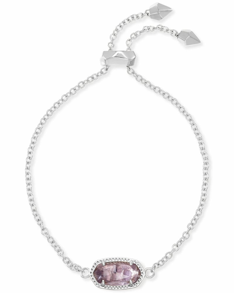 Elaina Silver Adjustable Chain Bracelet in Amethyst
