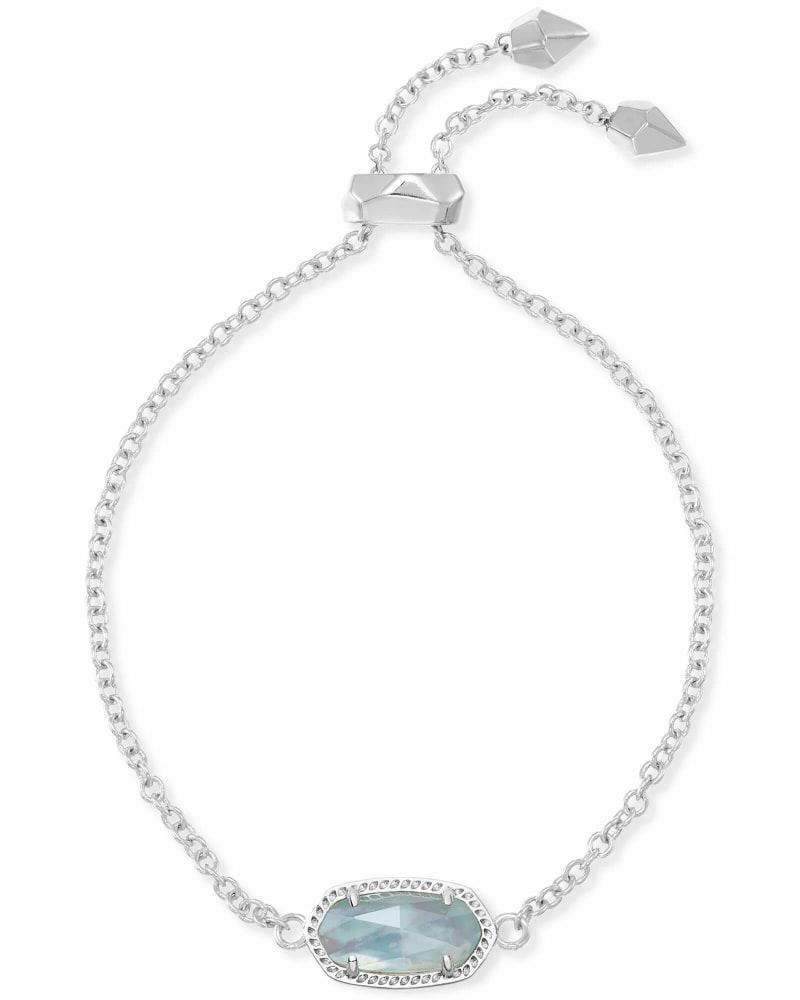 Elaina Silver Adjustable Chain Bracelet in Light Blue Illusion