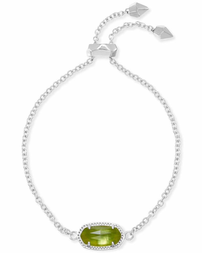 Elaina Silver Adjustable Chain Bracelet in Peridot Illusion