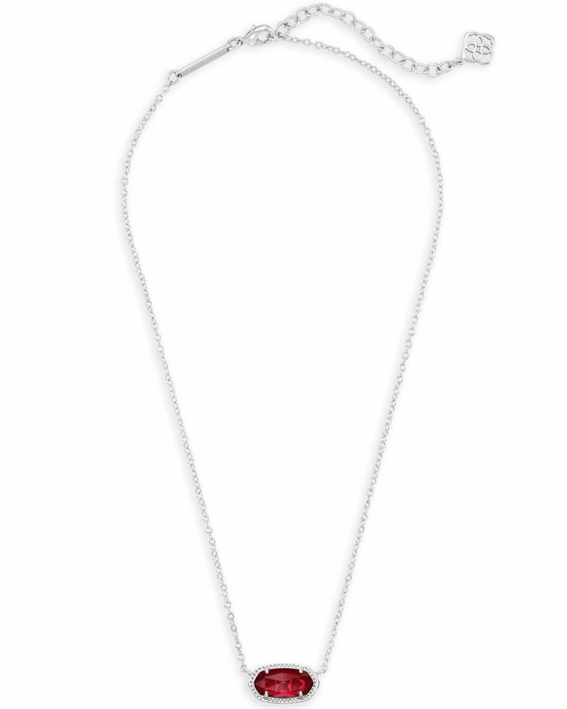 Elisa Silver Pendant Necklace in Berry