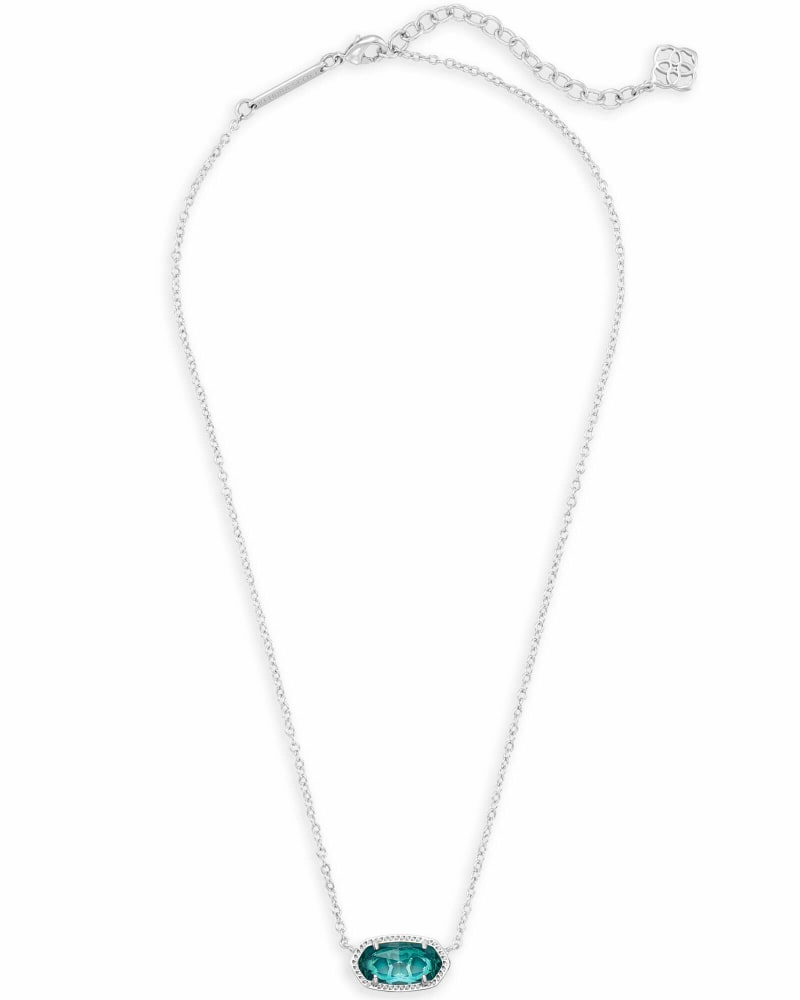 Elisa Silver Pendant Necklace in London Blue
