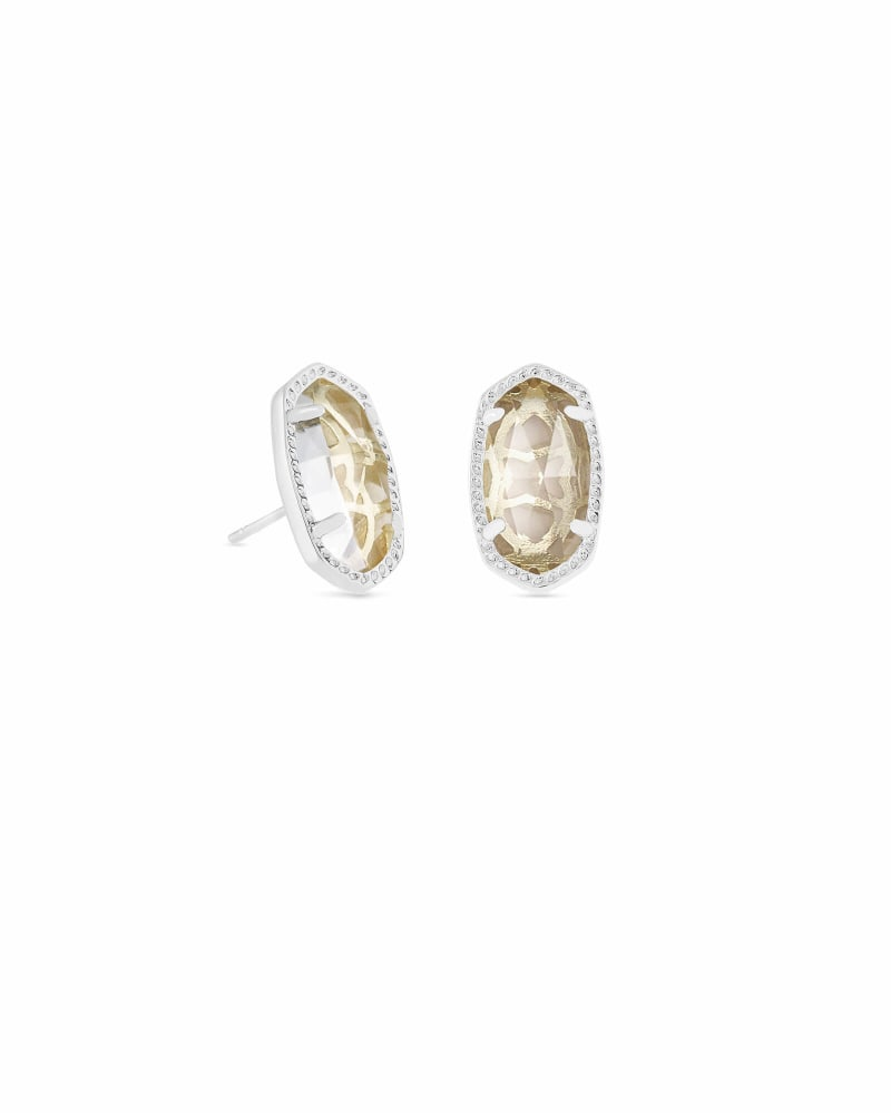 Ellie Silver Stud Earrings in Clear Crystal