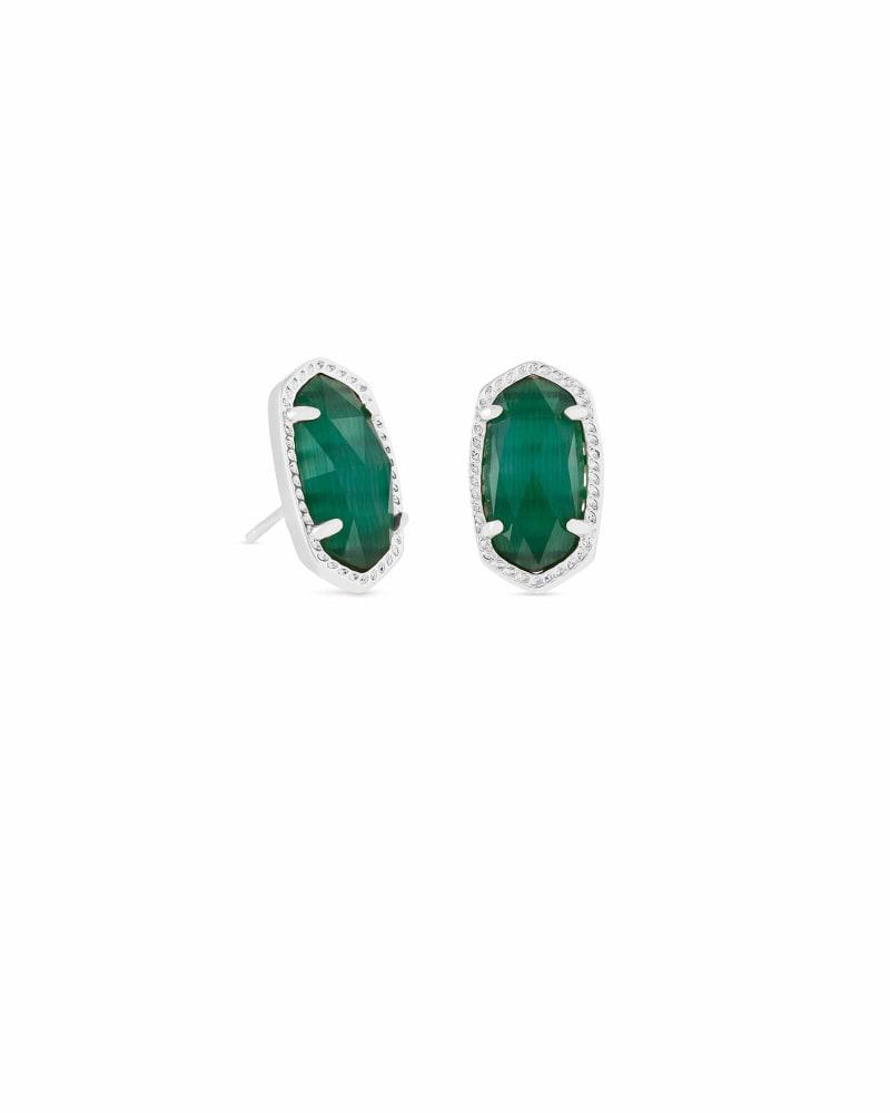 Ellie Silver Stud Earrings in Emerald Cats Eye