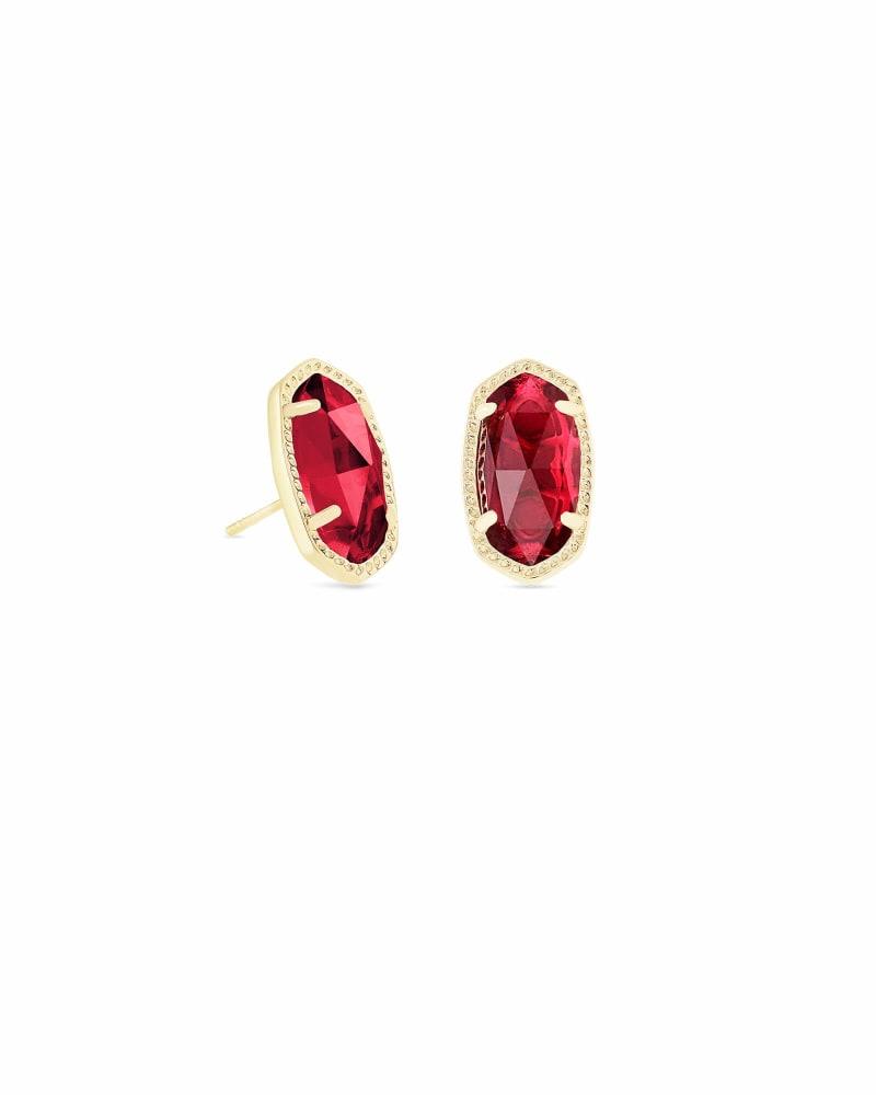 Ellie Gold Stud Earrings in Berry