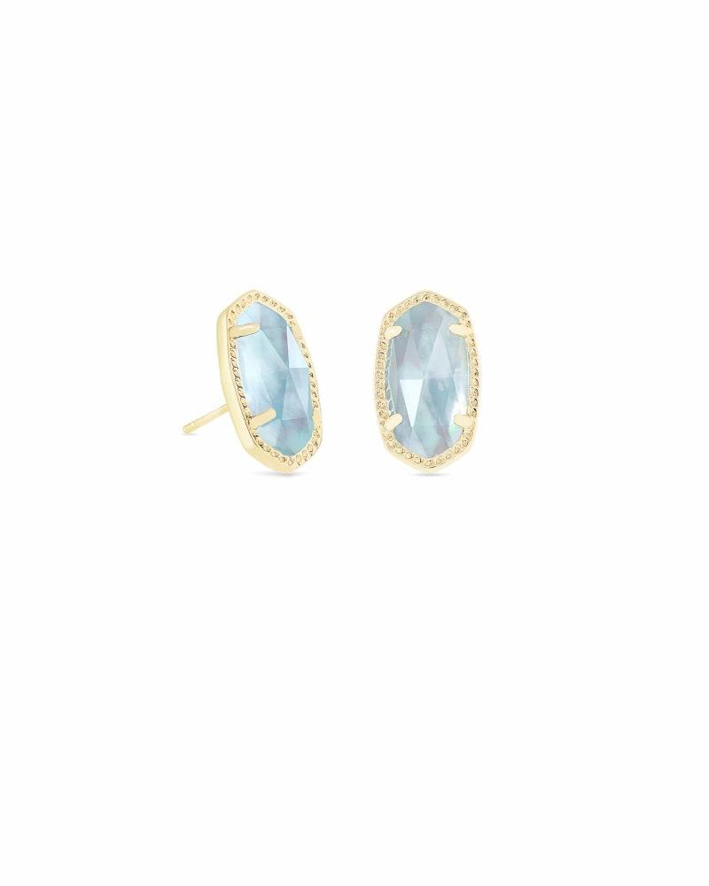 Ellie Gold Stud Earrings in Light Blue Illusion