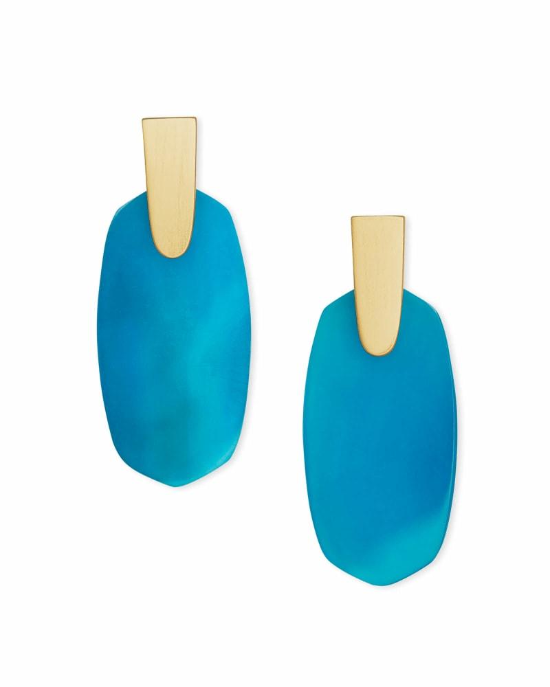 Aragon Gold Drop Earrings in Teal Agate