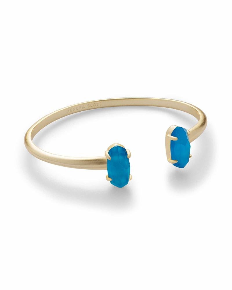 Edie Gold Cuff Bracelet in Teal Agate