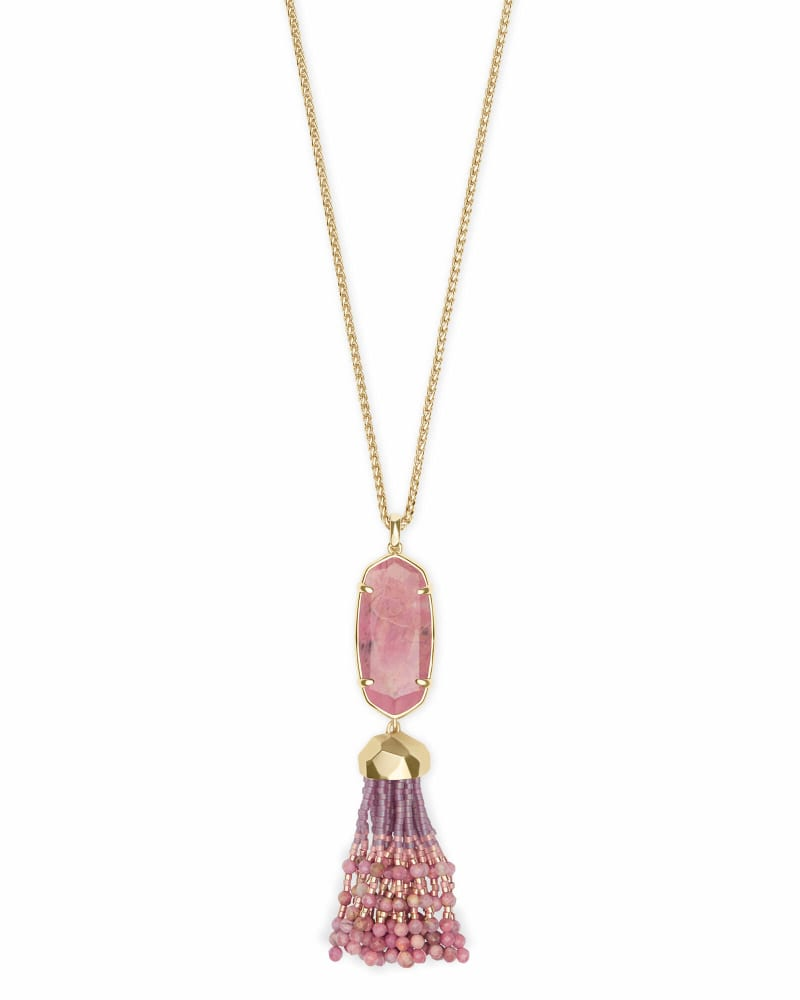 Eva Gold Long Pendant Necklace in Pink Rhodonite