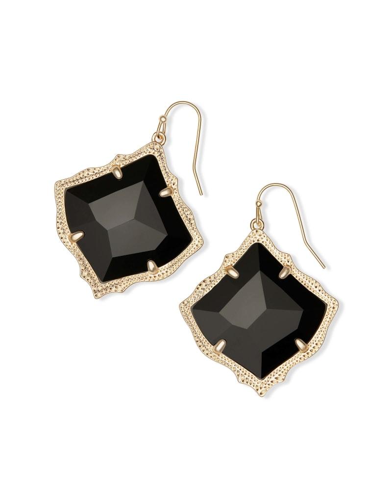 Kirsten Gold Drop Earring in Black Opaque Glass