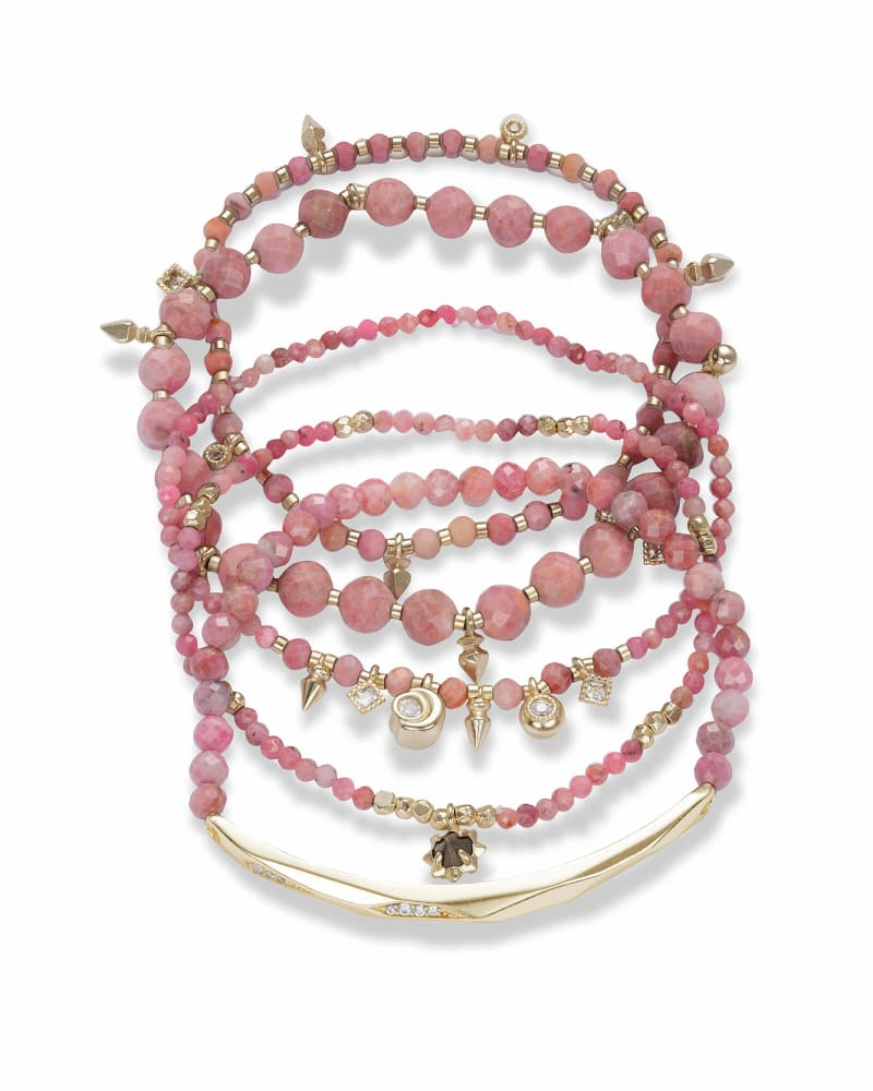 Supak Gold Beaded Bracelet Set in Pink Rhodonite