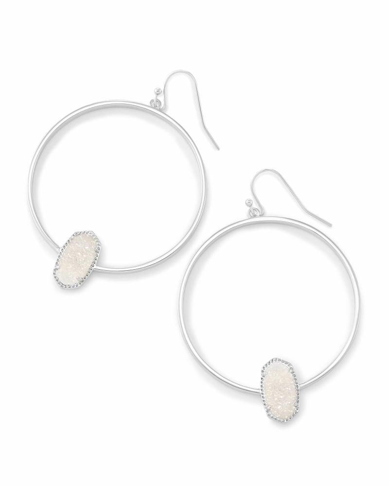 Elora Silver Hoop Earrings In Iridescent Drusy