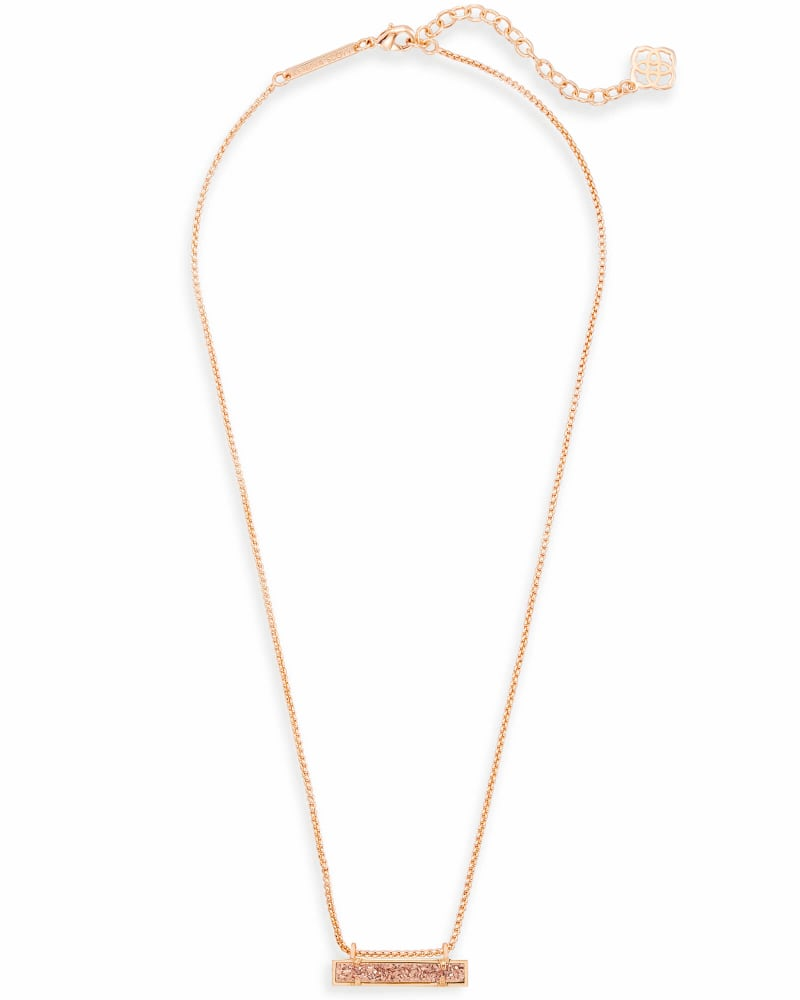 Leanor Rose Gold Pendant Necklace in Rose Gold Drusy