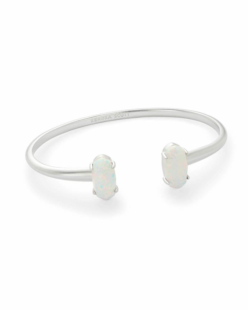 Edie Silver Cuff Bracelet in White Kyocera Opal