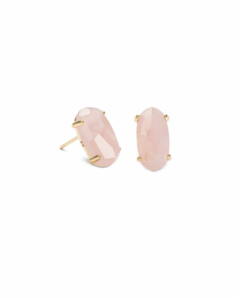 Betty Gold Stud Earrings in Rose Quartz