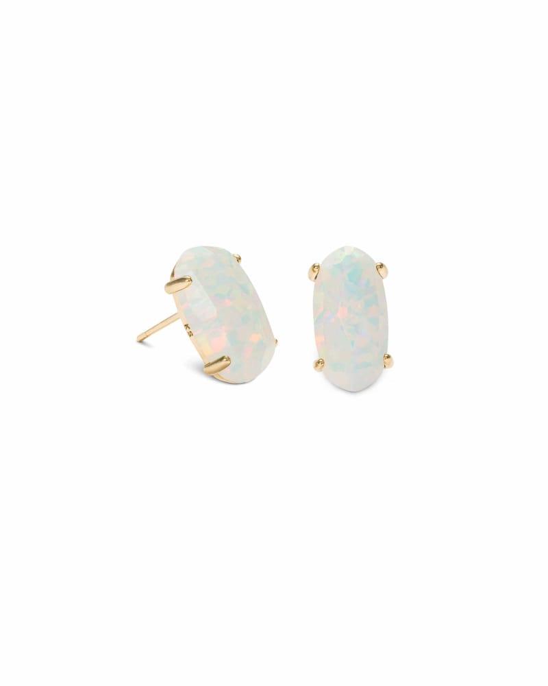 Betty Gold Stud Earrings in White Kyocera Opal