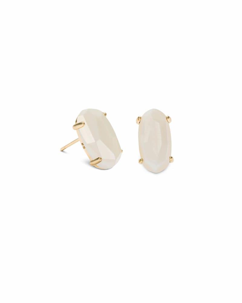 Betty Gold Stud Earrings in White Pearl