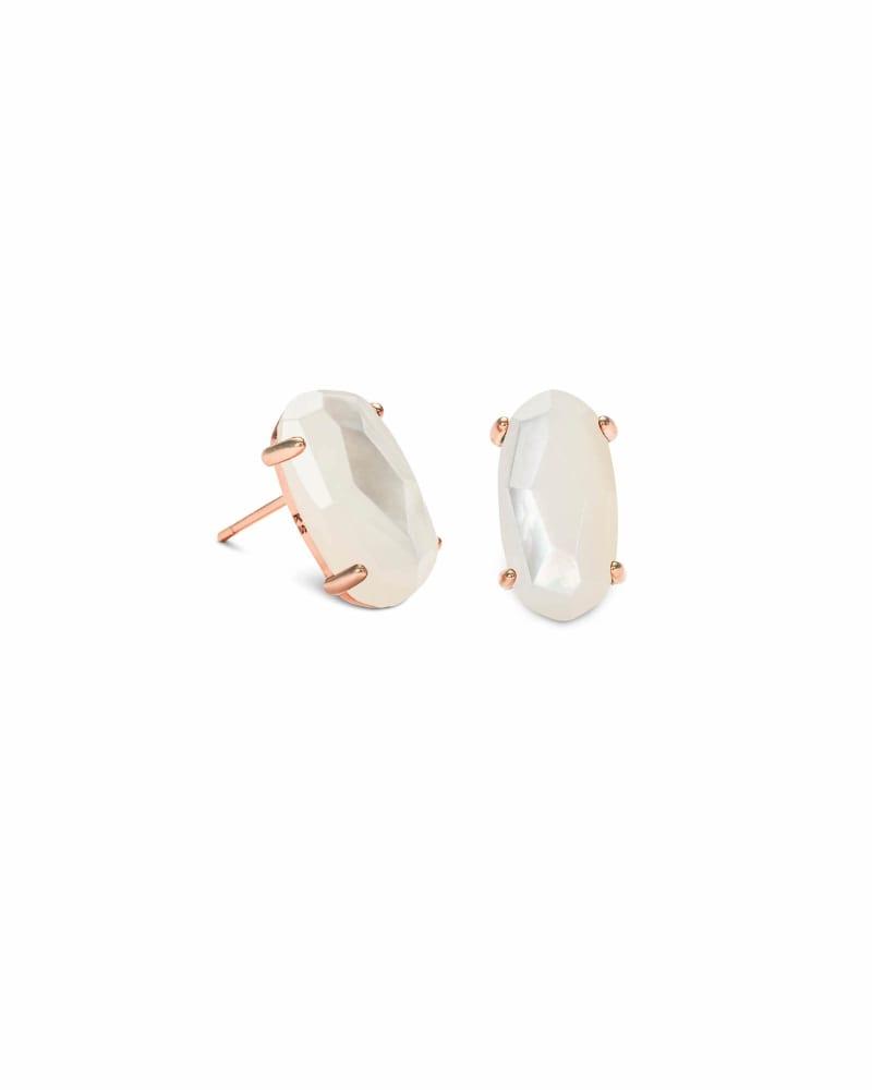 Betty Rose Gold Stud Earrings in Ivory Pearl