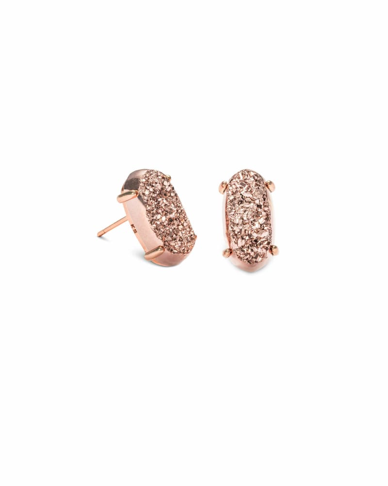 Betty Rose Gold Stud Earrings in Rose Gold Drusy