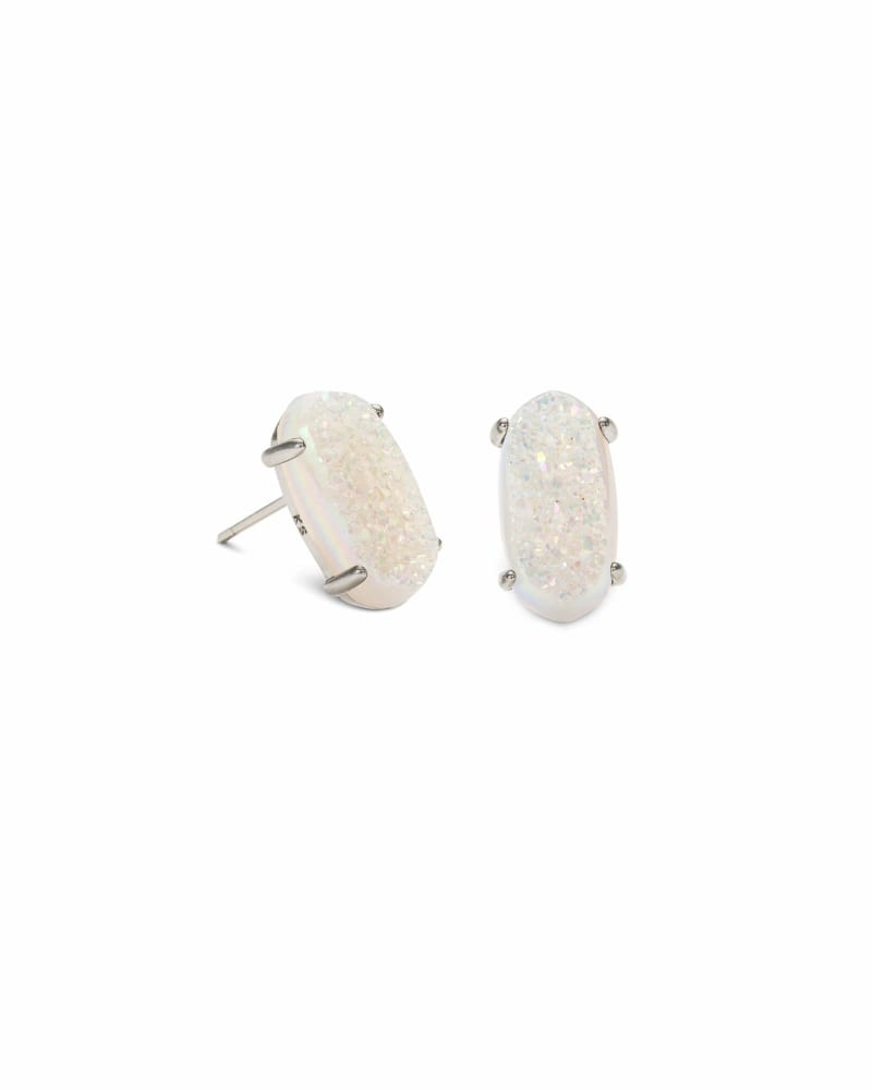 Betty Silver Stud Earrings in Iridescent Drusy