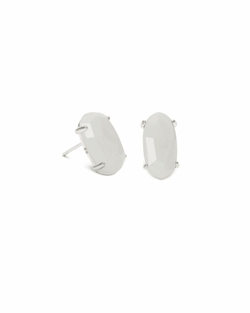 Betty Silver Stud Earrings in White Pearl