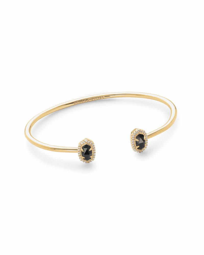 Calla Gold Cuff Bracelet in Black Opaque Glass