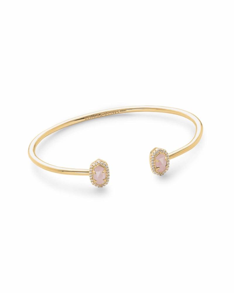 Calla Gold Cuff Bracelet in Rose Quartz
