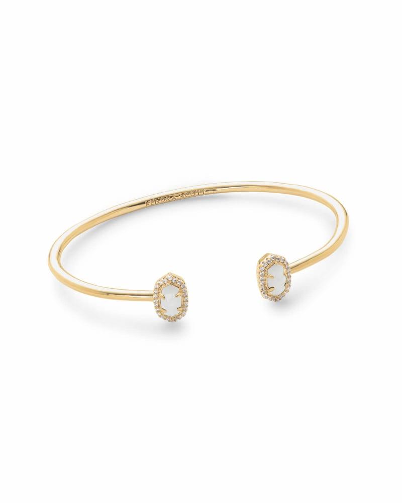 Calla Gold Cuff Bracelet in White Pearl