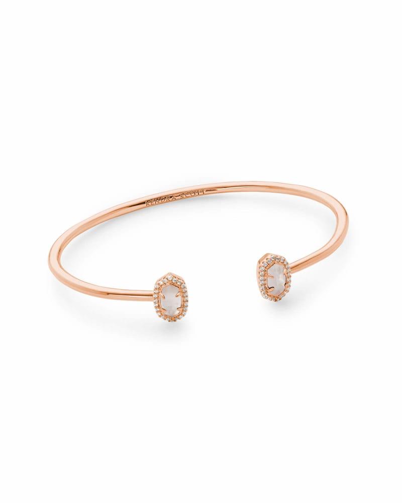 Calla Rose Gold Cuff Bracelet in Ivory Pearl