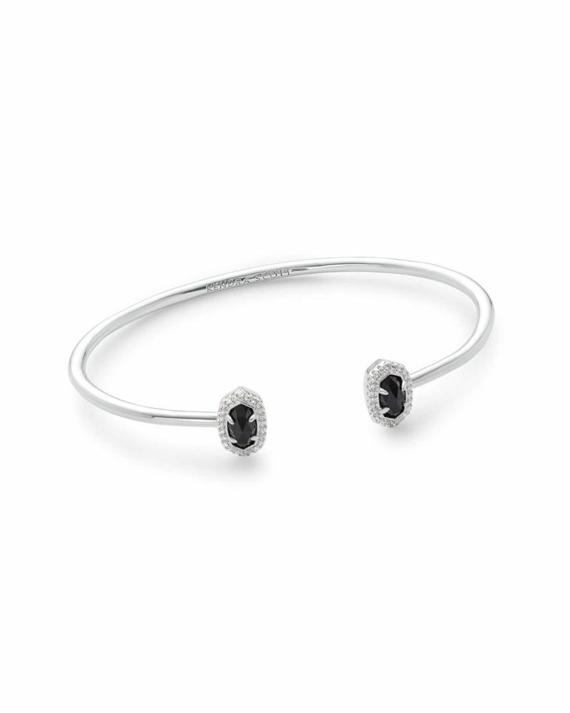 Calla Silver Cuff Bracelet in Black Opaque Glass