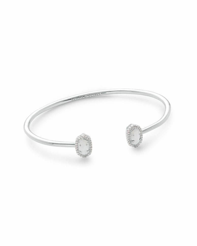 Calla Silver Cuff Bracelet in White Pearl