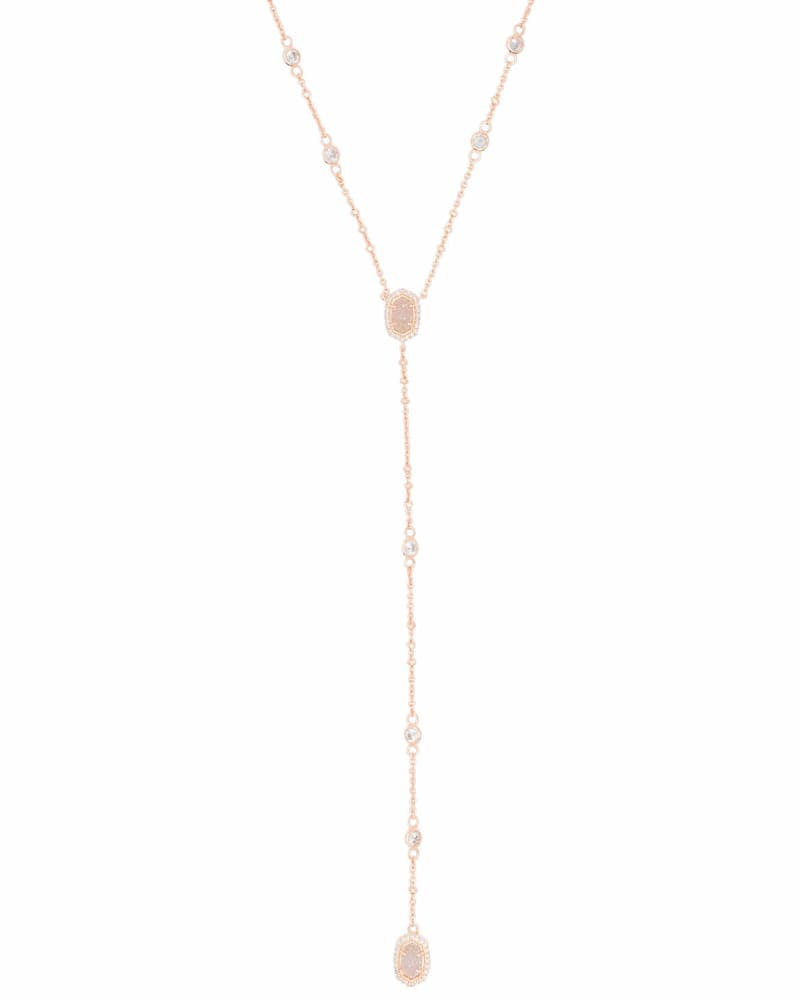 Claudia Lariat Necklace in Rose Gold