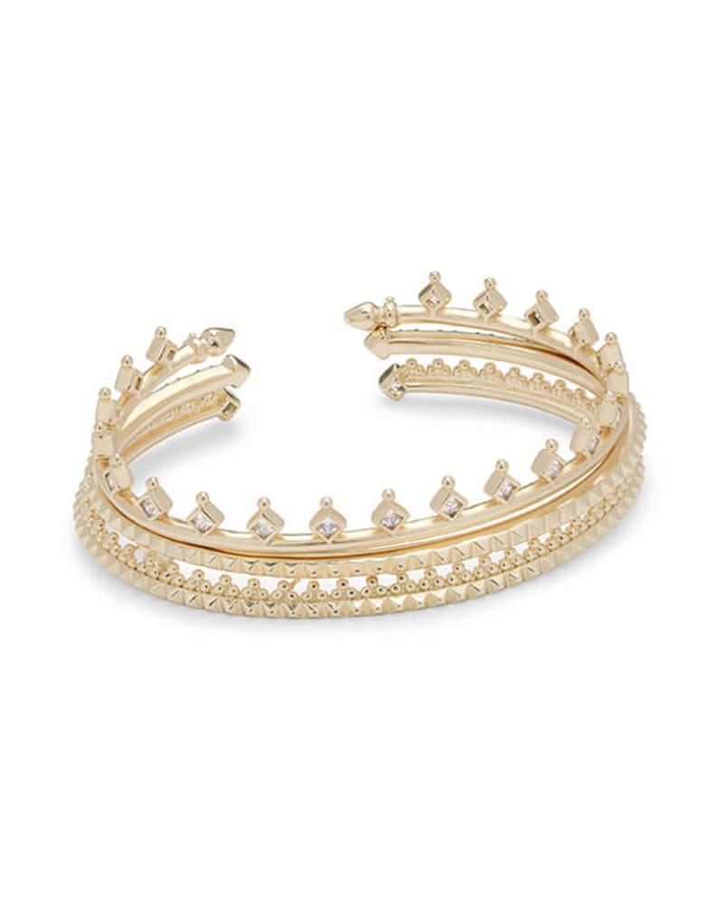 Delphine Gold Pinch Cuff Bracelet Set