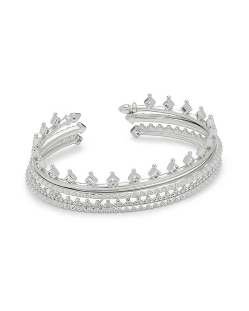 Delphine Silver Pinch Cuff Bracelet Set